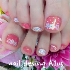Pink Toe Nails, Painted Toe Nails, Cute Toe Nails, Feet Nails, Pretty Nails, My Nails, Cute Pedicure Designs, Toe Nail Designs, Pedicure Nail Art
