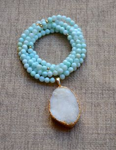 Peruvian Opal Bead & Gold Bead Long Necklace with White Druzy, Gold Edged Pendant