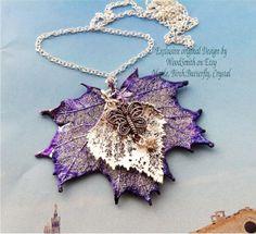 Genuine Leaf Jewelry Butterfly necklace sugar maple by WoodSmith