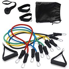 Workout Bands with Door Anchor Tribe 11PC Premium Resistance Bands Set Ha...