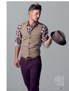 the vest & plaid would look really hot on you (unless you like purple pants too lol :) )