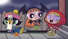 The Powerpuff girls in Halloween costumes Disney Halloween, Halloween Icons, Halloween Cartoons, Halloween Art, Vintage Halloween, Halloween Profile Pics, Happy Halloween, Halloween Costumes, Halloween Wallpaper Iphone