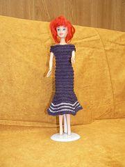 Ravelry: #0043 White Dress with Silver Stripes pattern by stickatillbarbie.se