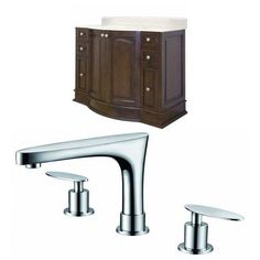 48-in. W Floor Mount Walnut Vanity Set For 3H8-in. Drilling Beige Top White UM Sink, Brown