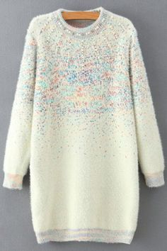 Beaded Round Collar Long Sleeve Sweater Dress