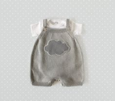 Knitted overalls in gray with a cloud. 100 cotton. por tenderblue, $65.00