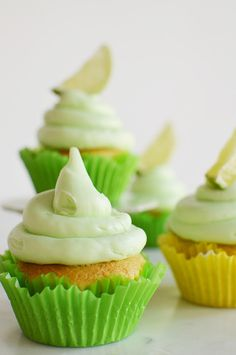 Key lime cupcakes with key lim butter cream frosting...the perfect end of summer party treat!