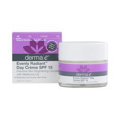Derma E Evenly Radiant Day Creme SPF 15 - 2 oz - Derma E Evenly Radiant Day Creme SPF 15 Description: Natural Solution: Age Reverse Intensive Skin Brightening Complex with Madonna Lily Brightens and Evens Skin Tone Skincare Solutions Cruelty-Free Paraben-Free Eco-Friendly Evenly Radiant Day Creme SPF 15 is a citrus scented daily moisturizer that helps brighten and even skin tone providing UVA/UVB protection. Madonna Lily Bearberry Niacinamide and Licorice help lighten and prevent d...