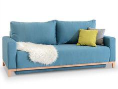 Niebieska sofa z funkcja spania bez zaliczki STOCKHOLM - Mebel-Partner.pl