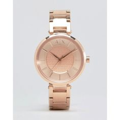Armani Exchange Rose Gold Olivia Watch AX5317 ($274) ❤ liked on Polyvore featuring jewelry, watches, rose gold, rose gold wrist watch, armani exchange watches, pink gold jewelry, water resistant watches and red gold jewelry