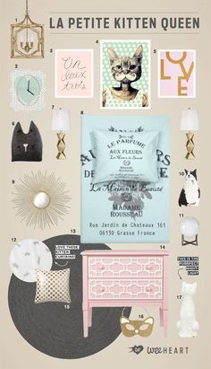 Modern Kids Room, Cat Decor, Crazy Cat Lady, Kitten Bedroom, Girls bedroom, French decor, pink and gold, mint and gold