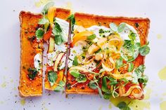 Gluten-free caramelised carrot tart with carrot-top salsa verde - Delicious Salsa Verde Recipe, Savory Tart, Leftovers Recipes, Tart Recipes, Savoury Recipes, Carrot Top, Recipe Collection, Tray Bakes, Pizza