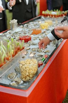 Lowcountry Raw Bar with Local Oyster Shooters #charlestonweddings, #thericemill, #CharlestonCatering