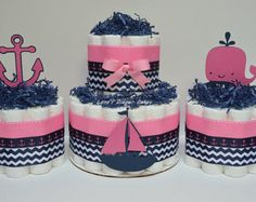 SET OF 3 2 Tier & 2 Mini Hot Pink And Navy Blue Nautical Diaper Cakes, Baby Shower Centerpiece