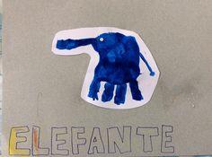E de elefante. Alfabeto feito com mãozinha de guache. Ensino infantil.