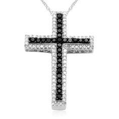 "10k White Gold Black and White Diamond Cross Pendant Necklace (1/ 2 cttw, I-J Color, I2-I3 Clarity), 18"" Amazon Curated Collection, http://www.amazon.com/dp/B002KE58JM/ref=cm_sw_r_pi_dp_nITpqb06QAA7S"