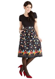 Y'all Dolled Up Skirt by Bea & Dot - Long, Cotton, Woven, Black, Multi, Novelty Print, Pockets, Rockabilly, Vintage Inspired, 50s, Music, A-...