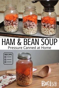Canning Soup Recipes, Canning Beans, Pressure Canning Recipes, Canning Tips, Easy Canning, Pressure Cooking, Canning Venison, Canning Potatoes, Ham And Beans