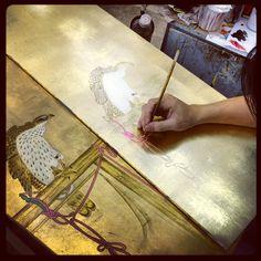 Testing hand painted furniture panels - Saigon.