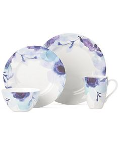 Lenox Indigo Watercolor Floral Porcelain 4-Pc. Place Setting, A Macy's Exclusive Style - Dinnerware - Dining & Entertaining - Macy's