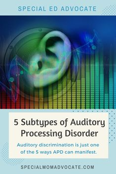 The 5 Subtypes of Auditory Processing Disorder (APD) 5 Subtypes of Auditory Processing Disorder. Knowing what subtype a person has can help with finding solution to help. Auditory Processing Activities, Auditory Processing Disorder, Speech Therapy Activities, Articulation Therapy, Autism Learning, Learning Disabilities, Auditory Learning, Multiple Disabilities, Autism Sensory