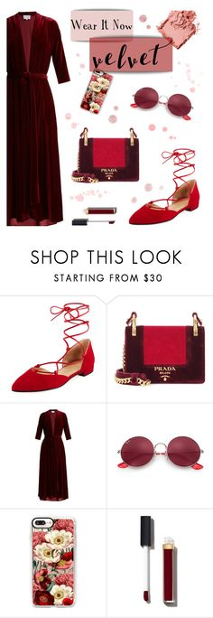 """""""Wear It Now: Velvet"""" by the-amj ❤ liked on Polyvore featuring Stuart Weitzman, Prada, LUISA BECCARIA, Ray-Ban, Casetify, Chanel and Bobbi Brown Cosmetics"""