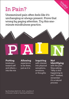 Unexamined #pain often feels like it's unchanging or always present. Prove that wrong by paying attention.