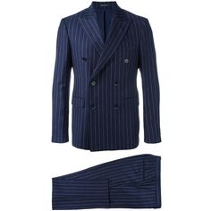 Dinner double-breasted pinstripe suit (€700) ❤ liked on Polyvore featuring men's fashion, men's clothing, men's suits, blue, mens double breasted suit, mens pinstripe suit, mens patterned suits, mens blue suit and mens blue pinstripe suit