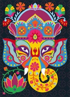 ganesha the Elephant God Pintura Ganesha, Arte Ganesha, Lord Ganesha, Shri Ganesh, Lord Shiva, Illustrations, Illustration Art, Pop Art, Holi