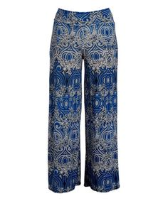 Love this Navy & Sand Abstract Palazzo Pants - Plus on #zulily! #zulilyfinds