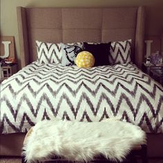 My bedroom :) shown on my blog - Turning Tables {Designing*the*Everyday}  bed - Nina from Z Gallerie - http://www.zgallerie.com/p-6514-nina-bed.aspx  bedding - Chevron Organic from West Elm - http://www.westelm.com/products/organic-chevron-duvet-shams-g379/?pkey=e|chevron|14|best|0|1|24||1_src=PRODUCTSEARCH||NoFacet-_-NoFacet-_-NoMerchRules-_-
