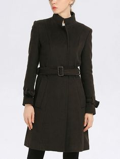 Green Stand Collar Single Breasted Placket Overcoat
