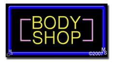"Body Shop Neon Sign - 20"" x 37""-ANS1500-2128-R  37"" Wide x 20"" Tall x 3"" Deep  Flashing Border ""ON/OFF"" switch  Sign is mounted on an unbreakable black or clear Lexan backing  Top and bottom protective sides  110 volt U.L. listed transformer fits into a standard outlet  Hanging hardware & chain included  6' Power cord with standard transformer  For indoor use only  1 Year Warranty on electrical components."