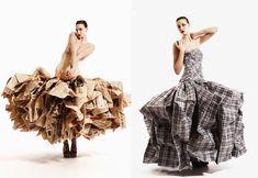 Left: Newspaper dress ~ Right: Laundry bag dress