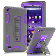 "TOPSKY Fire 7"" (2015 release) Case[Kickstand Feature]Shock-Absorption / High Impact Resistant Heavy Duty Armor Defender Case For Amazon Fire 7 Inch Tabletwith Stylus Grey/Purple"