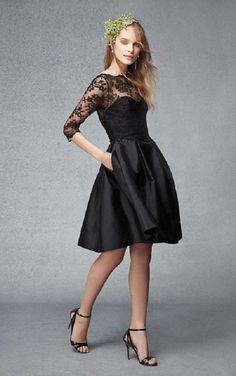 Sleeves Short A-Line Bateau Black Bridesmaid Dress