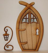 1 x  Narnia 3D Fairy Door Wooden Craft Kit with Lantern and Windows
