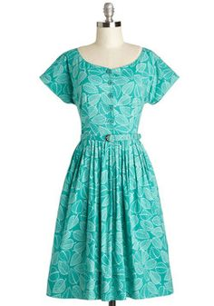 Amidst the Masters Dress. You wander the museum in this teal, leaf-print midi dress by Emily and Fin searching for inspiration among the works of artistic geniuses. #green #modcloth
