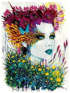 Svenja Jodicke brings feminine sensuality to this portrait painting with flowers and a butterfly
