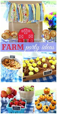 This amazing farm birthday party has a shabby chic garland, tiny chicks, sunflower cupcakes and fresh fruit!