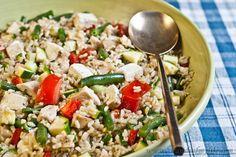 Chicken feta brown rice salad