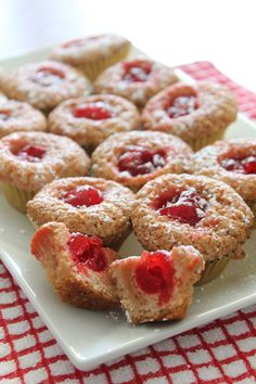 These sweet little cherry merry muffins are made with maraschino cherries and are perfect with a cup of hot tea.