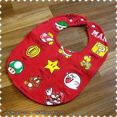 Mario Hall of Fame Baby Bib Recycled T-Shirt Baby by wrkdesigns