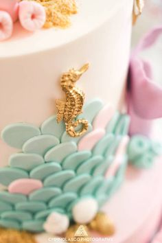 Cake detail from a Glamorous Under the Sea Birthday Party on Kara's Party Ideas | KarasPartyIdeas.com | Mermaid birthday | Under the Sea Party Ideas #mermaid #mermaidparty #underthesea #kidspartyideas #karaspartyideas