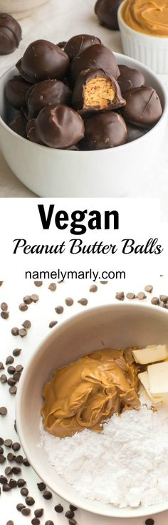 Who said vegan isn't fun? Say good-bye to cholesterol laden peanut butter ba… Who said vegan isn't fun? Say good-bye to cholesterol laden peanut butter balls, and say hello to these vegan peanut butter balls covered in chocolate. Vegan Treats, Vegan Foods, Vegan Snacks, Vegan Dishes, Paleo Diet, Best Vegan Meals, Healthy Snacks, Healthy Vegan Desserts, Vegan Peanut Butter