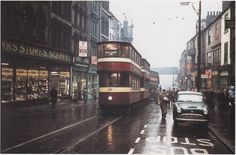 """The last day of Tramcar operations in Leeds November A dismal day brightened by the shop front of the legendary """" Scarrs"""" ironmongery store. Yorkshire England, West Yorkshire, England Uk, Old Pictures, Old Photos, Main Street, Street View, Leeds Castle, Leeds City"""