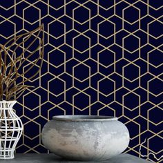 Navy and gold hexagon removable wallpaper / geometric wallpaper / self adhesive wallpaper / dark wallpaper / temporary wallpaper - Free HD Wallpapers Gold Removable Wallpaper, Temporary Wallpaper, Dark Wallpaper, Self Adhesive Wallpaper, Peel And Stick Wallpaper, Gold Accent Wallpaper, Gold Geometric Wallpaper, Wallpaper Ceiling, Wallpaper Wallpapers