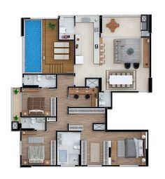 ideas for apartment house architecture floor plans layout Sims House Plans, House Layout Plans, Floor Plan Layout, House Layouts, House Floor Plans, House Construction Plan, Entrance Design, House Entrance, Apartment Floor Plans
