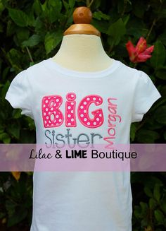 Personalized Big Sister Shirt or Onesie by LilacAndLime on Etsy, $24.00