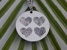 Custom Personalized Four Fingerprints Hearts Pendant Necklace by ArchesWhorlsAndLoops on Etsy